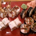 Lunch plate included Rock N Roll roll, Spicy Salmon roll, Spider roll and more