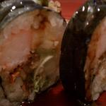 Sushi Cafe's version of one of Superfry's favorite rolls....The Rock and Roll. We prefer it when they serve it in aluminum foil lit on fire!