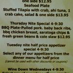 The Caroline offers specials throughout the week and they are some seriously great deals. We recommend the Seafood Plate for $13.95.